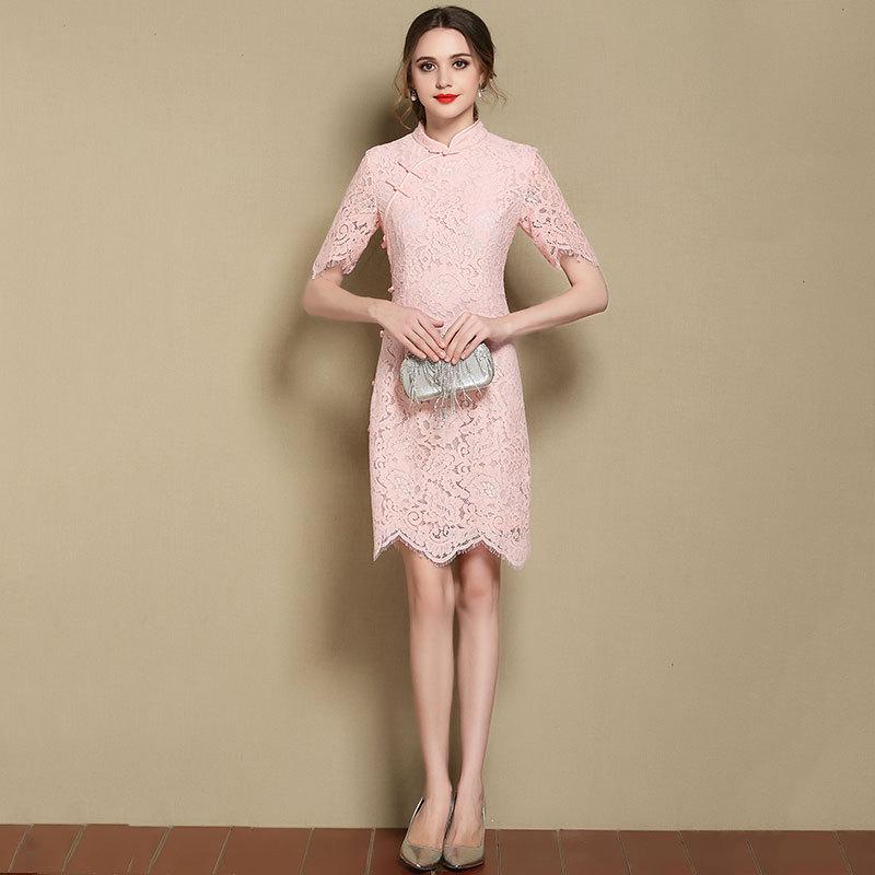 Pretty Modern Floral Lace Qipao Cheongsam Dress