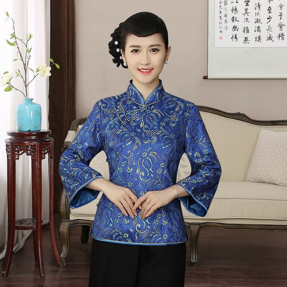 Adorable Lace Mandarin Collar Chinese Jacket - Blue
