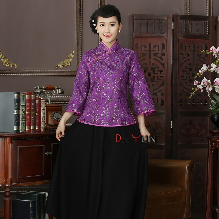 Adorable Lace Mandarin Collar Chinese Jacket - Purple