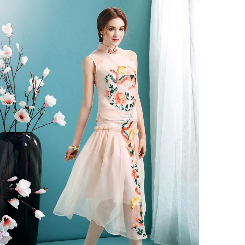 Phoenix Embroidery Cheongsam Qipao Overlay Dress - Pink