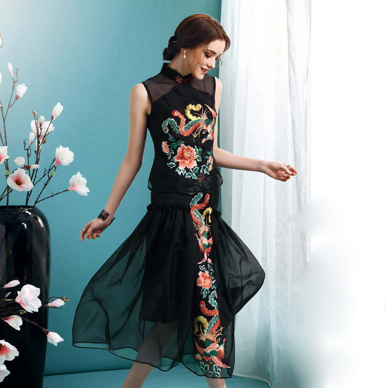 Phoenix Embroidery Cheongsam Qipao Overlay Dress - Black