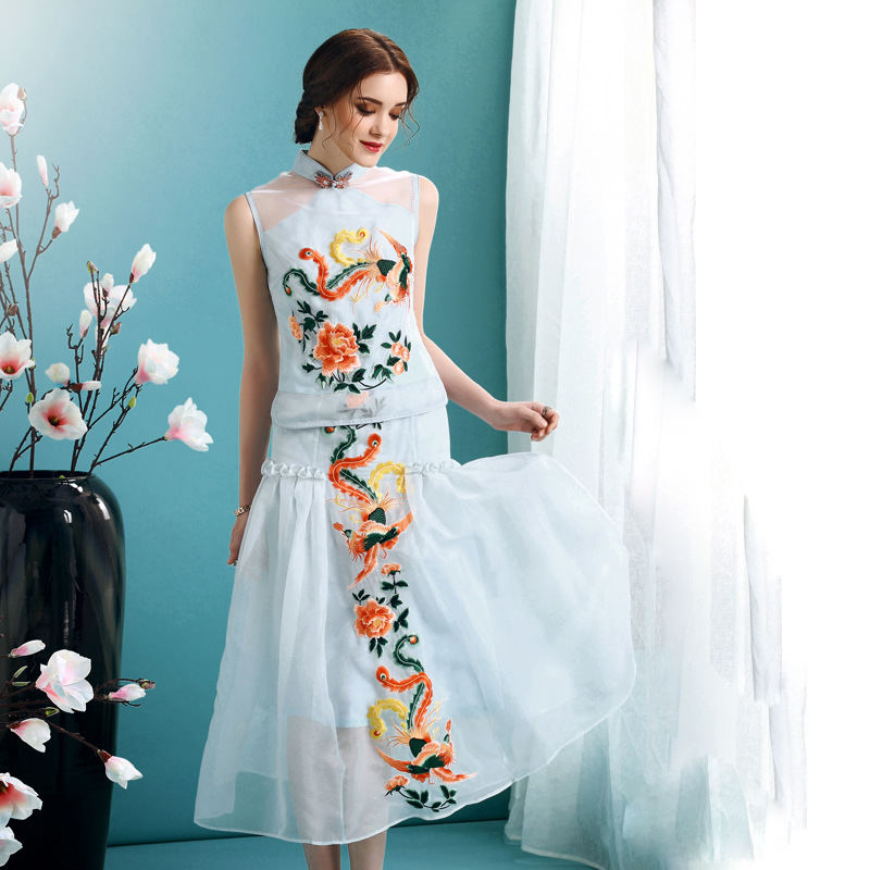 Phoenix Embroidery Cheongsam Qipao Overlay Dress - Blue