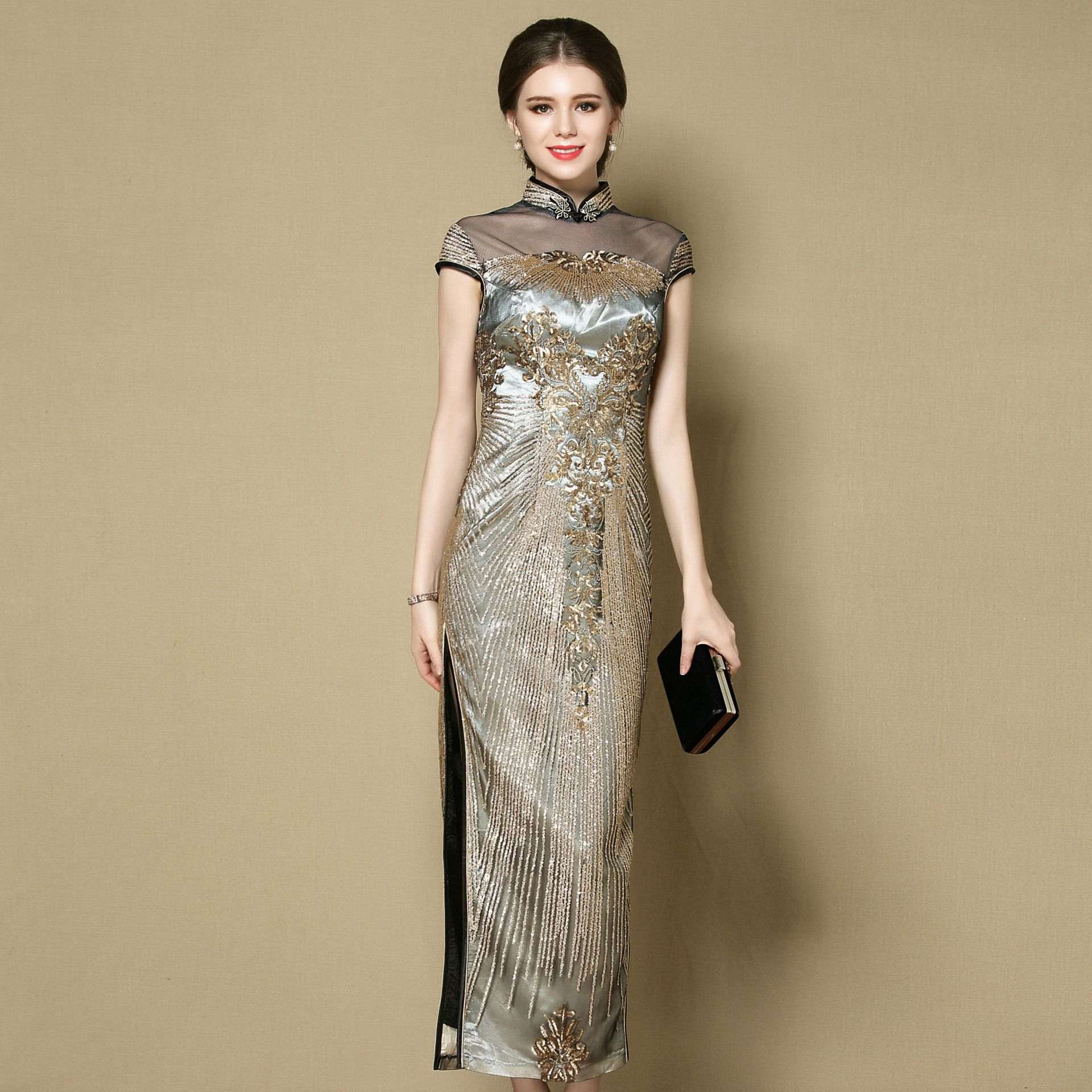 Marvelous Beaded Long Qipao Cheongsam Dress - Gray