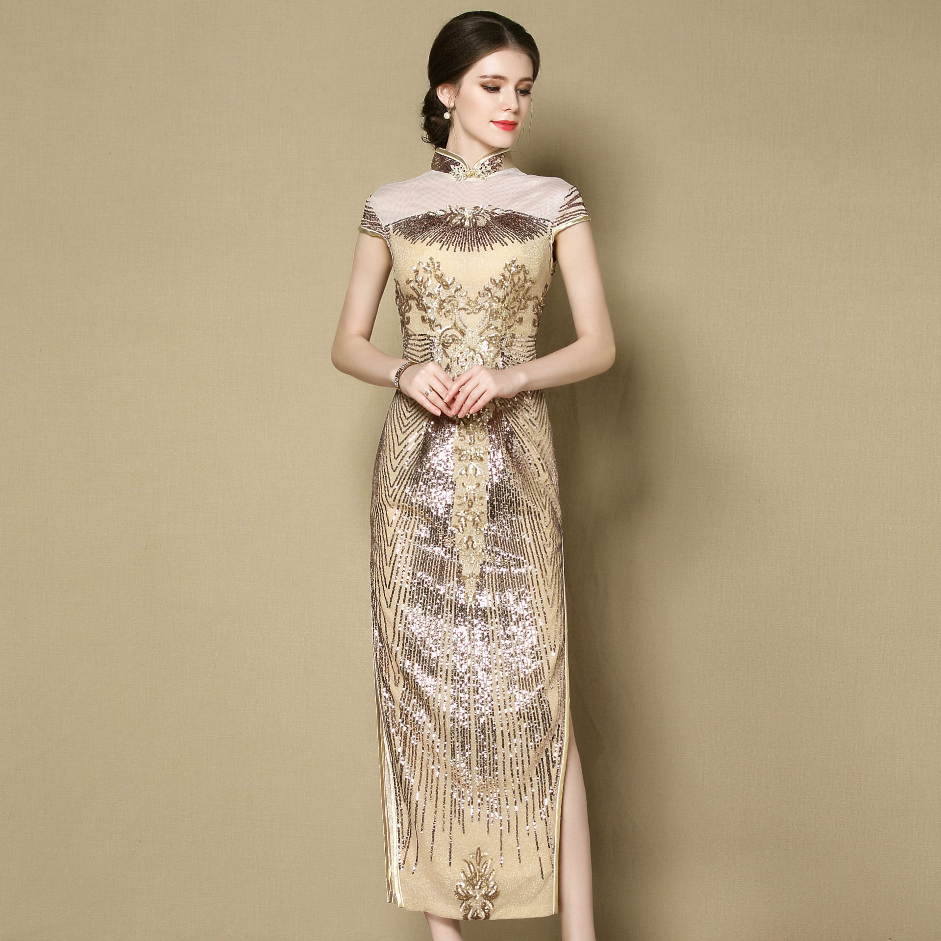 Marvelous Beaded Long Qipao Cheongsam Dress - Golden