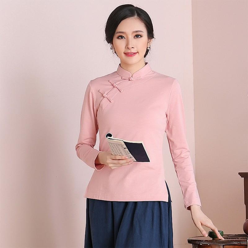 Attractive Classic Chinese Qipao Cheongsam Shirt - Pink
