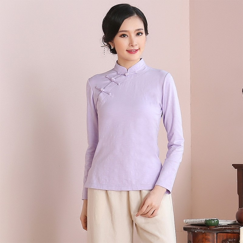 Attractive Classic Chinese Qipao Cheongsam Shirt - purple