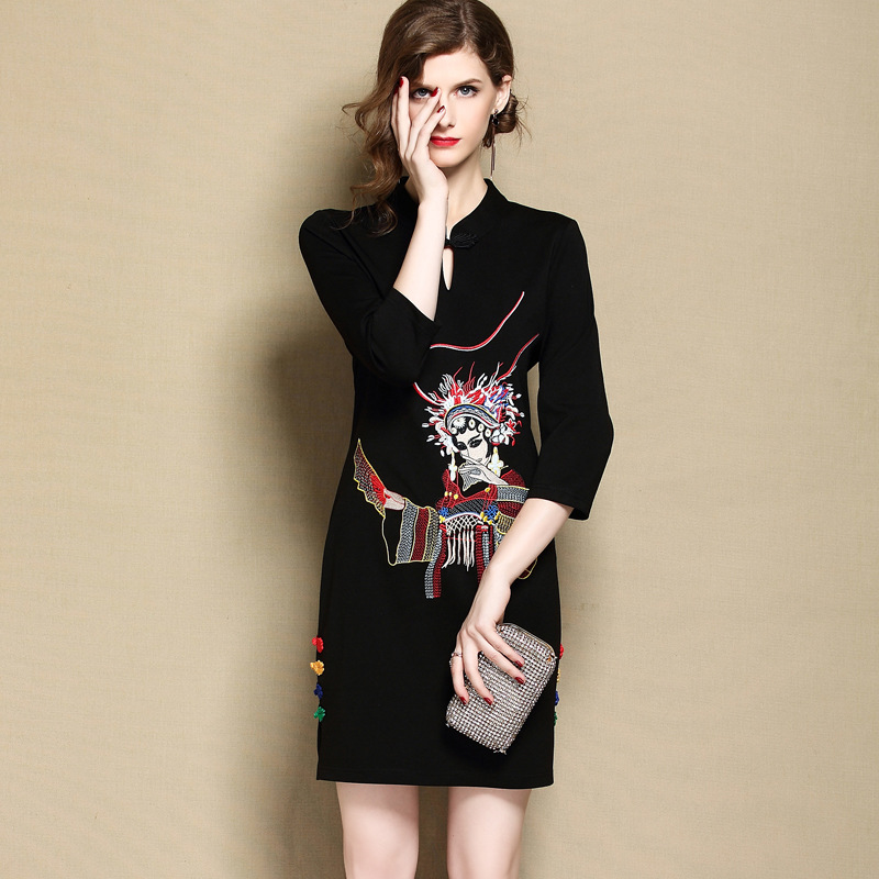 Amazing Embroidery Modern Qipao Cheongsam Dress