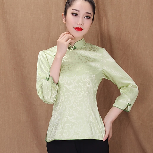 Beautiful Jacquard Qipao Cheomgsam Shirt - Green