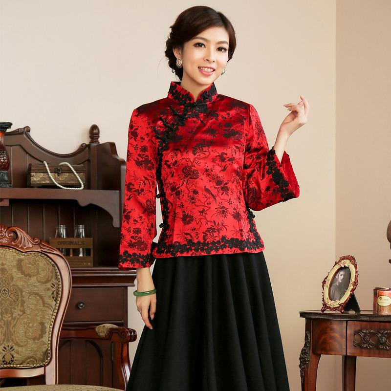 Prodigious Brocade Qipao Cheongsam Blouse Red Chinese