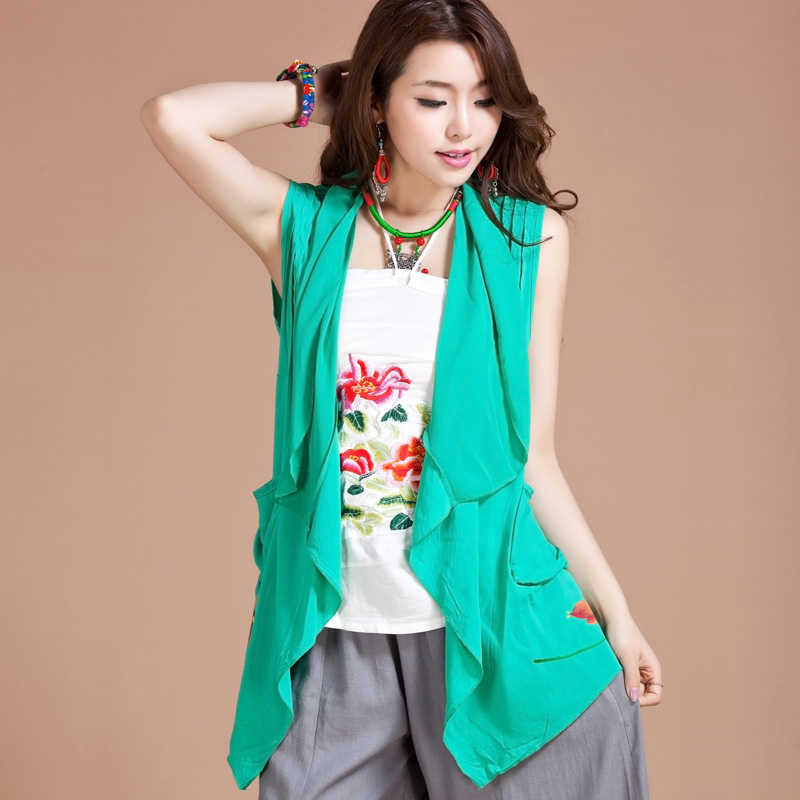 Attractive Mandarin Style Wrap Blouse With Pocket - Green