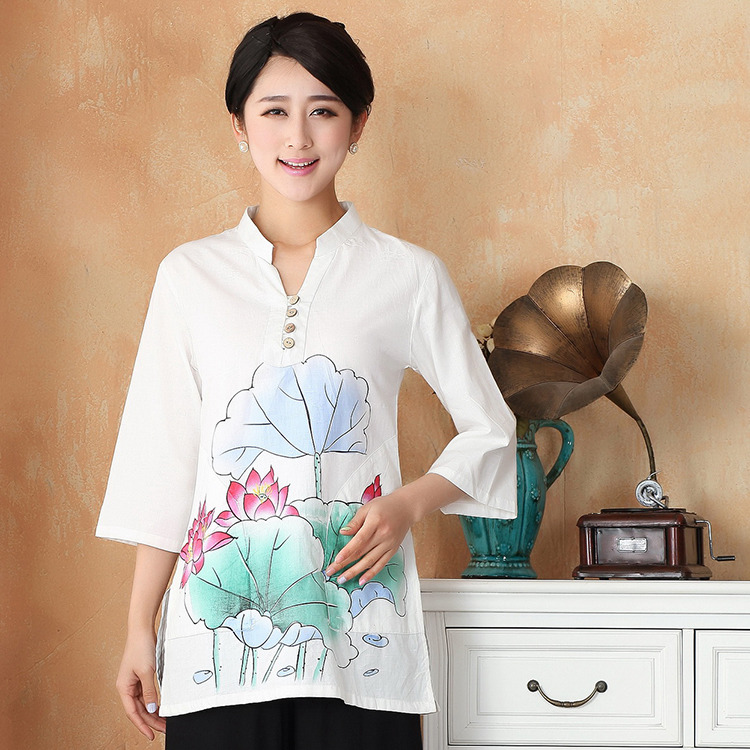 Pretty Cotton Flax Open Neck Chinese Blouse - Lotus A