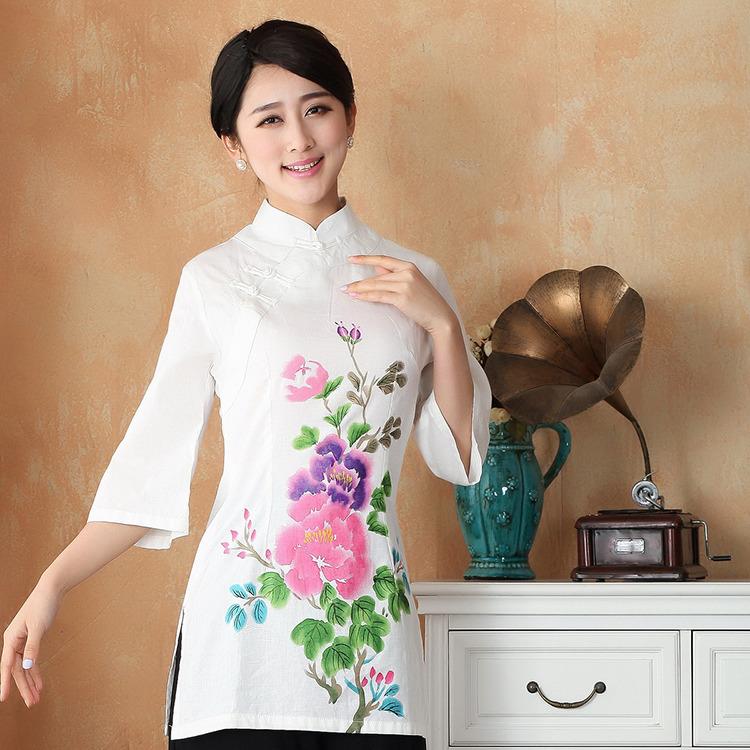 Impressive Long Cotton Flax Qipao Cheongsam Shirt - Peony