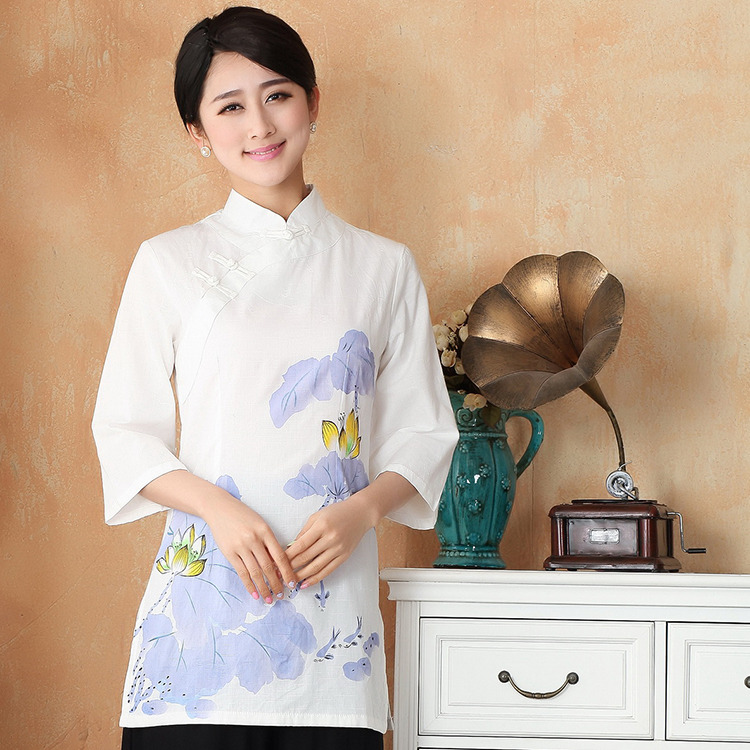 Impressive Long Cotton Flax Qipao Cheongsam Shirt - Lotus