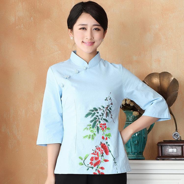 Sweet Print Flax Qipao Cheongsam Shirt - Light Blue
