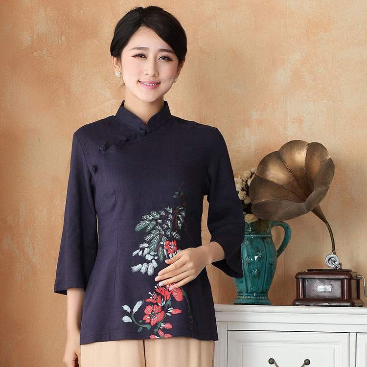 Sweet Print Flax Qipao Cheongsam Shirt - Dark Blue
