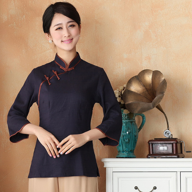 Elegant Dark Blue Cotton Flax Qipao Cheongsam Shirt