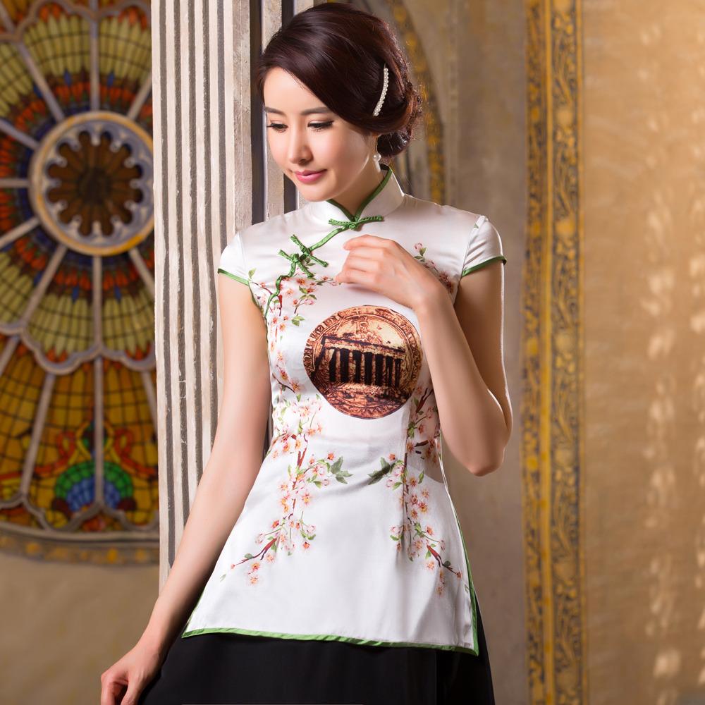 Charming Print Silk Qipao Cheongsam Shirt - Pattern B
