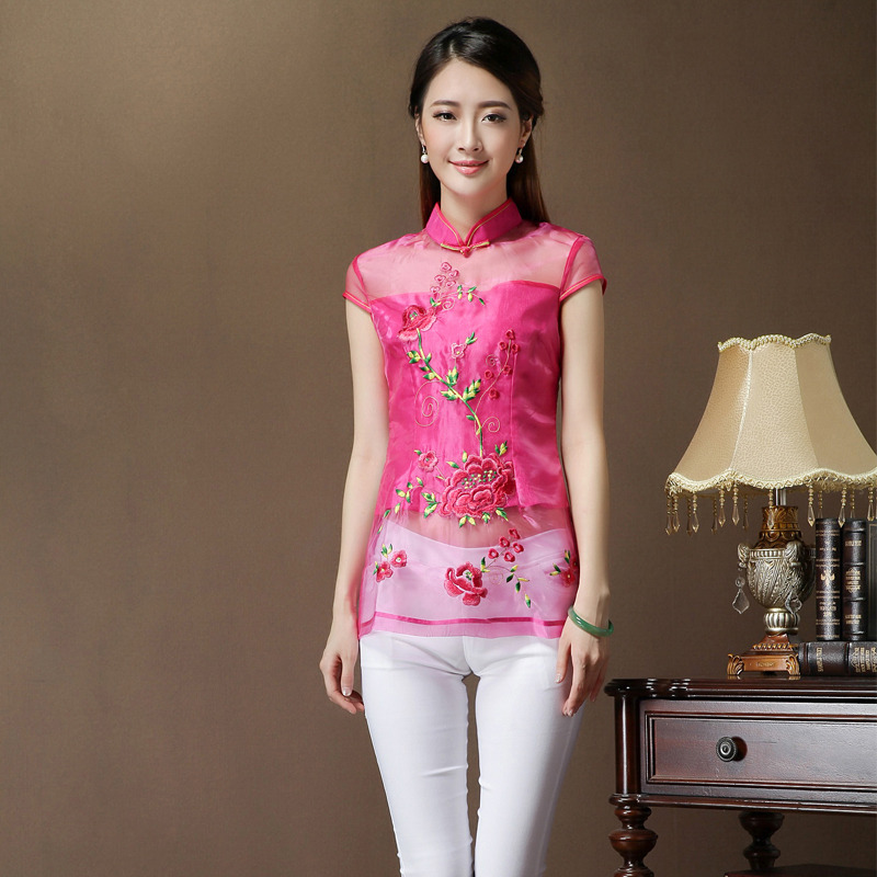 adorable embroidery modern qipao cheongsam shirt pink