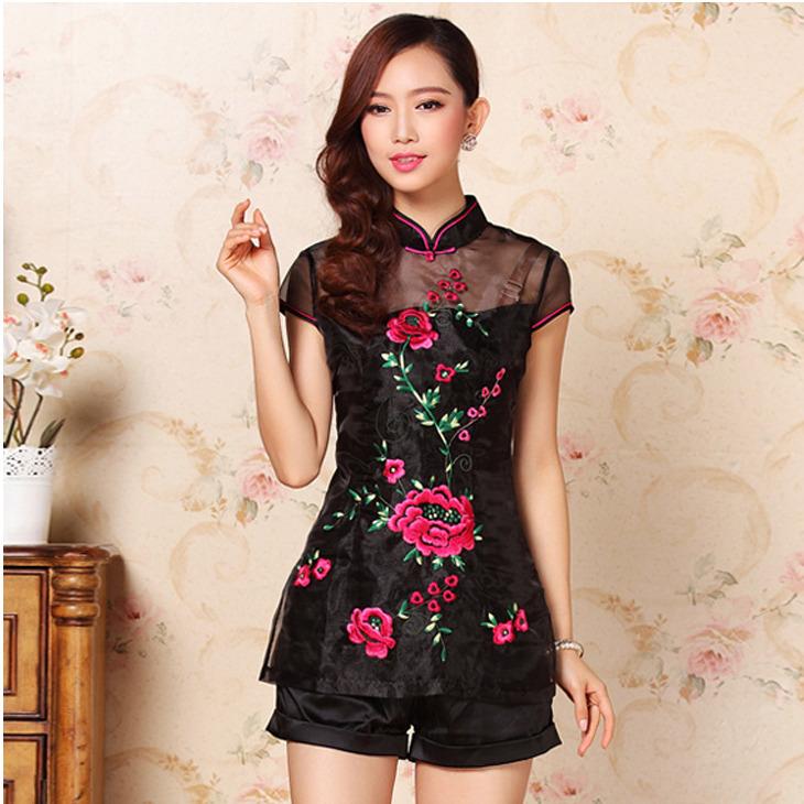 Adorable Embroidery Modern Qipao Cheongsam Shirt - Black