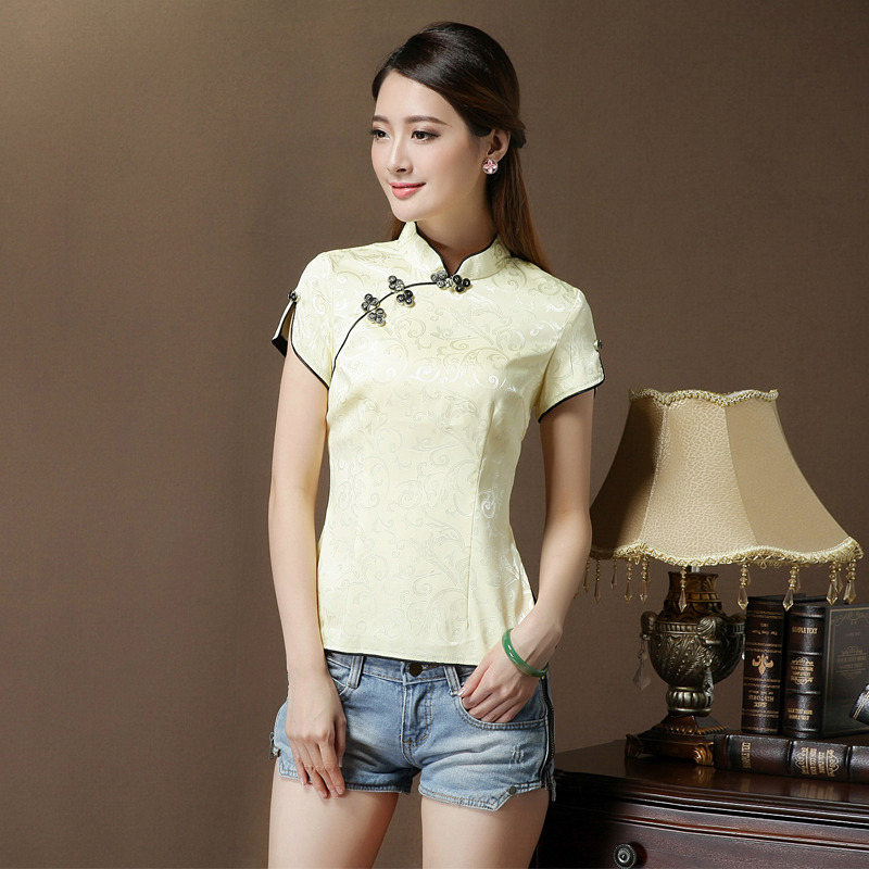 Short Sleeve Modern Mandarin Qipao Shirt - Yellow