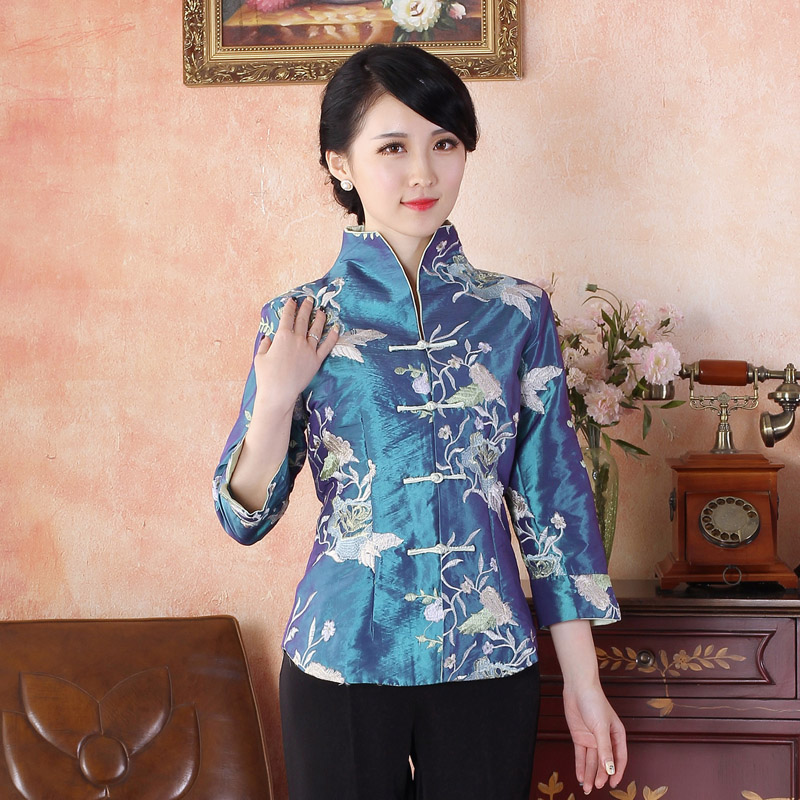 Enticing Flower Embroidery Chinese Tang Jacket - Blue