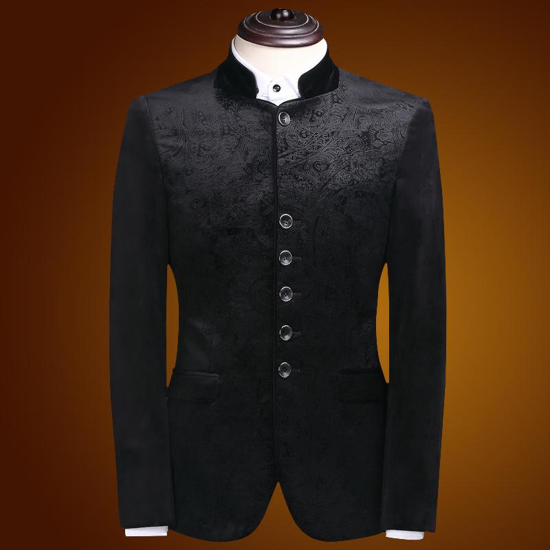 Attractive Flocked Velvet Mandarin Collar Jacket