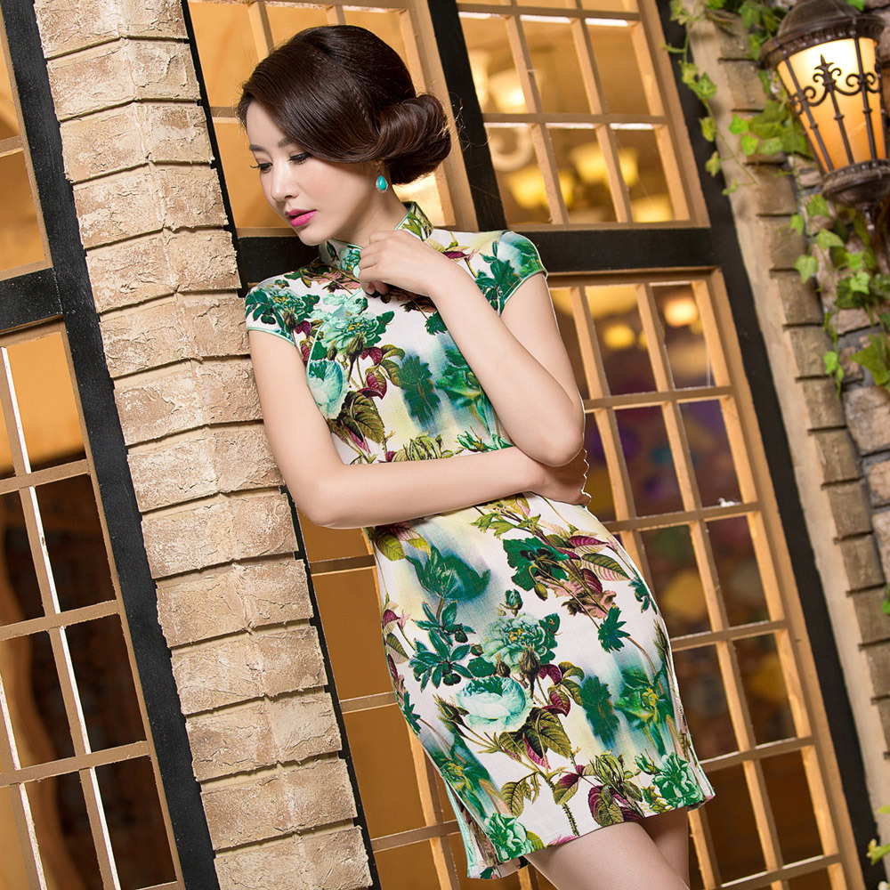 Fabulous Print Cap Sleeve Short Qipao Cheongsam Dress - A