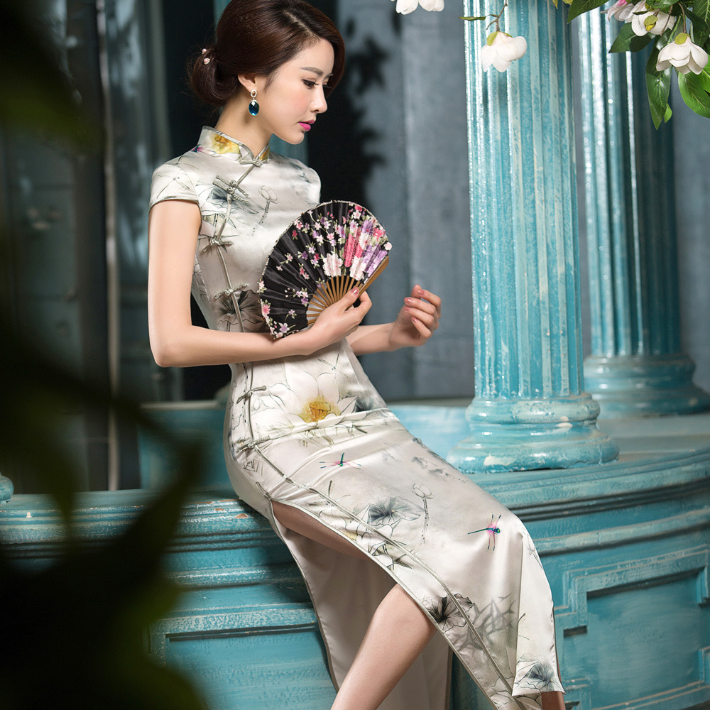 Amazing Cap Sleeve Silk Long Qipao Cheongsam Dress