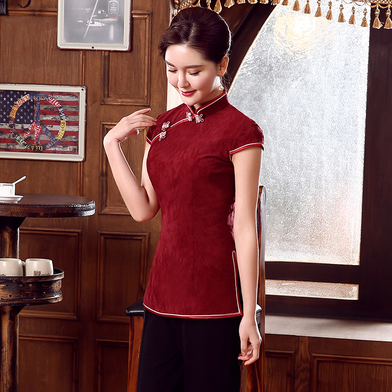 Charming Maroon Jacquard Qipao Cheongsam Shirt