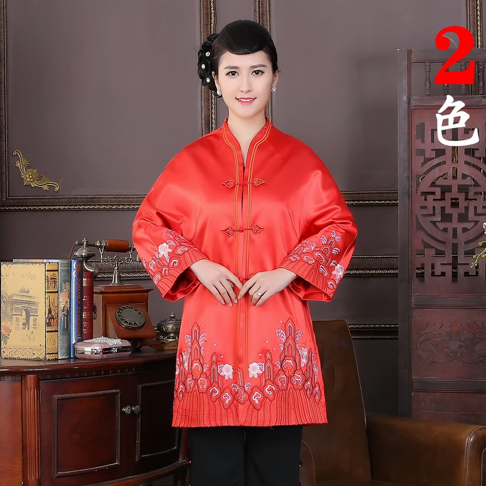 Charming Embroidery V Neck Frog Button Chinese Coat - Red