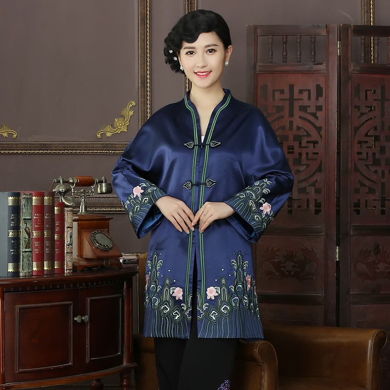 Charming Embroidery V Neck Frog Button Chinese Coat - Blue