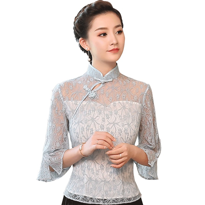 Attractive Floral Lace Qipao Cheongsam Shirt - Gray