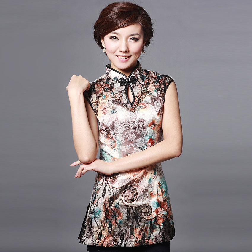 Gorgeous Sleeveless Cheongsam Style Shirt
