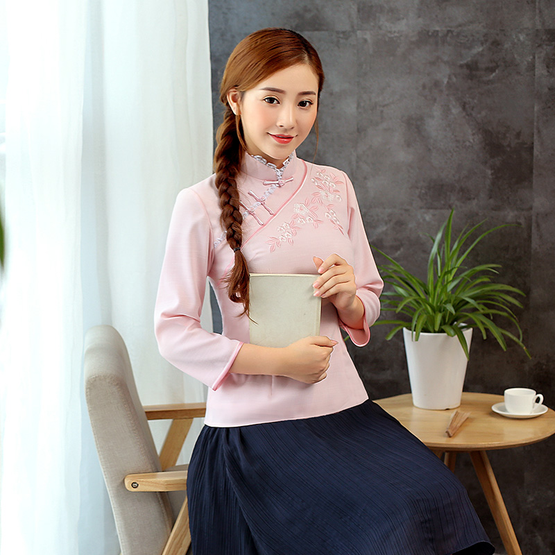 Captivating Embroidery Qipao Cheongsam Shirt - Light Pink