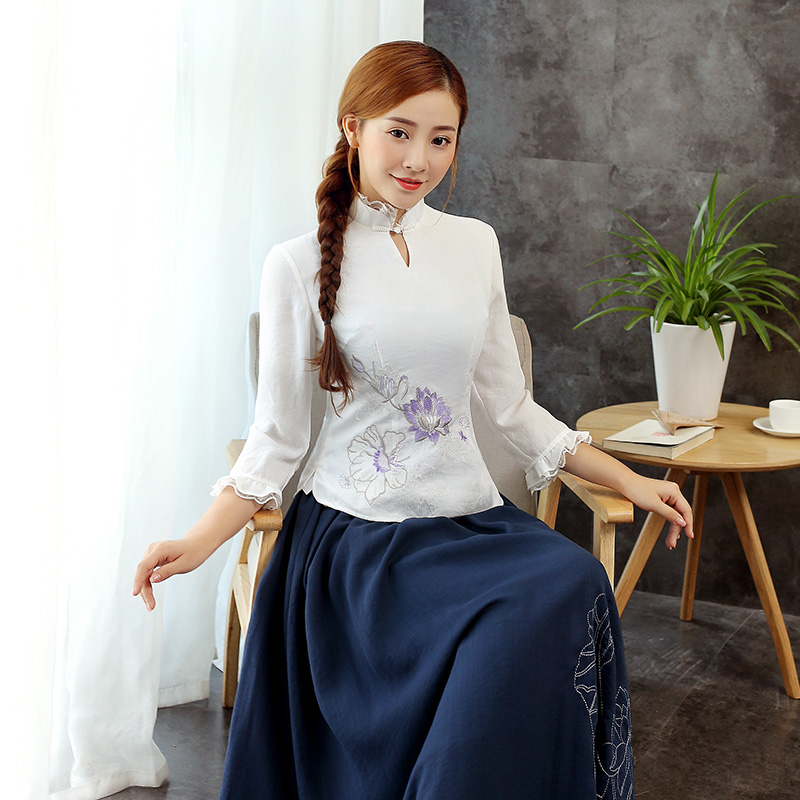 Charming Lotus Flowers Cheongsam Qipao Shirt - White