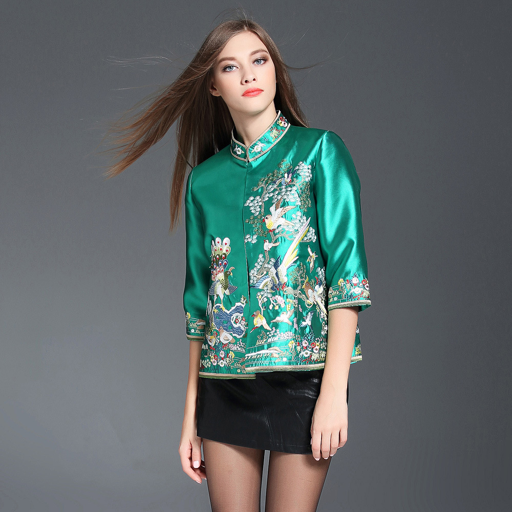 Fantastic Happy Birds Embroidery Short Jacket - Green