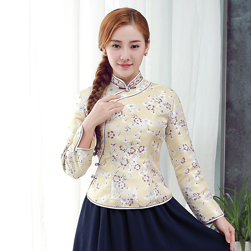 Appealing Jacquard Long Sleeve Qipao Cheongsam Shirt