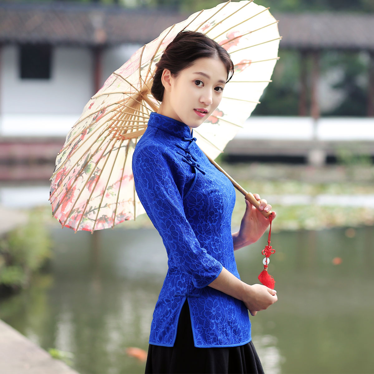 Attractive Blue Lace Chinese Qipao Cheongsam Shirt