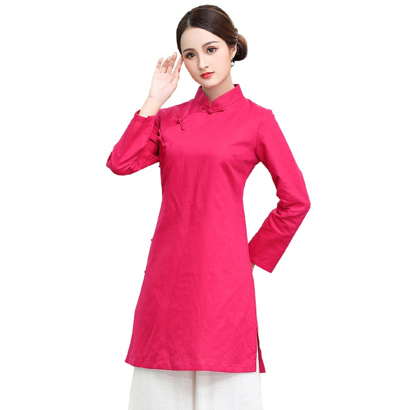 Nice Rose Red Frog Button Qipao Cheongsam Blouse