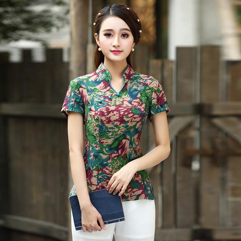 Delightful Floral Print Cheongsam Qipao Shirt - A