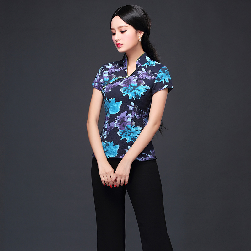 Delightful Floral Print Cheongsam Qipao Shirt - B