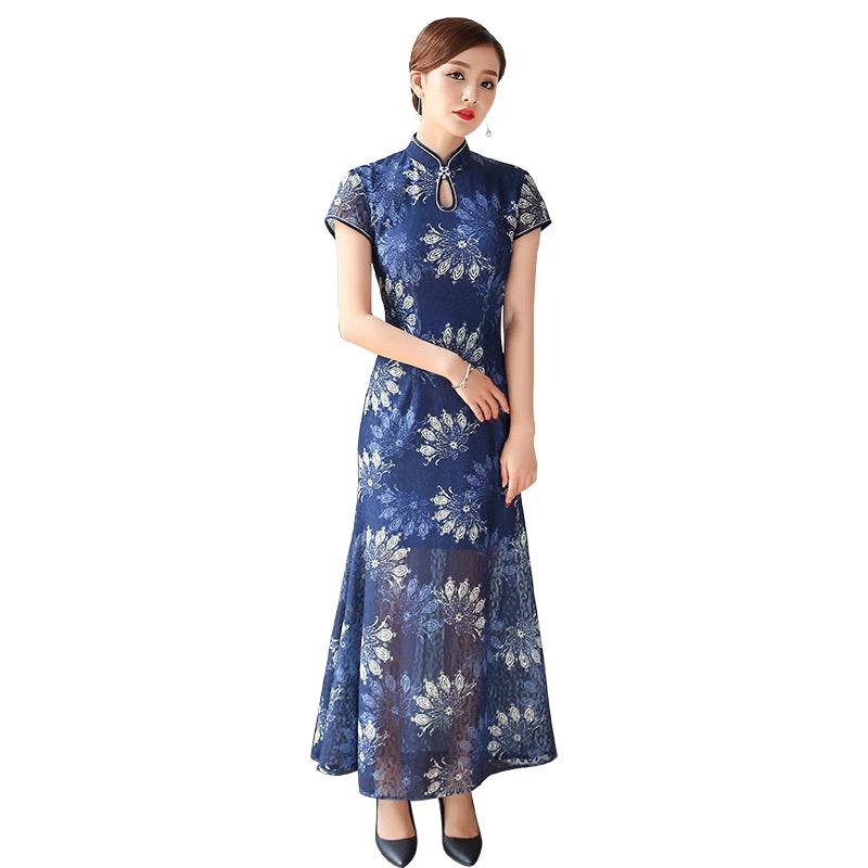 Elegant Lace Long Cheongsam Qipao Fishtail Dress