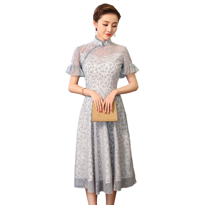 Charming Bell Sleeve Qipao Choeongsam Chinese Dress