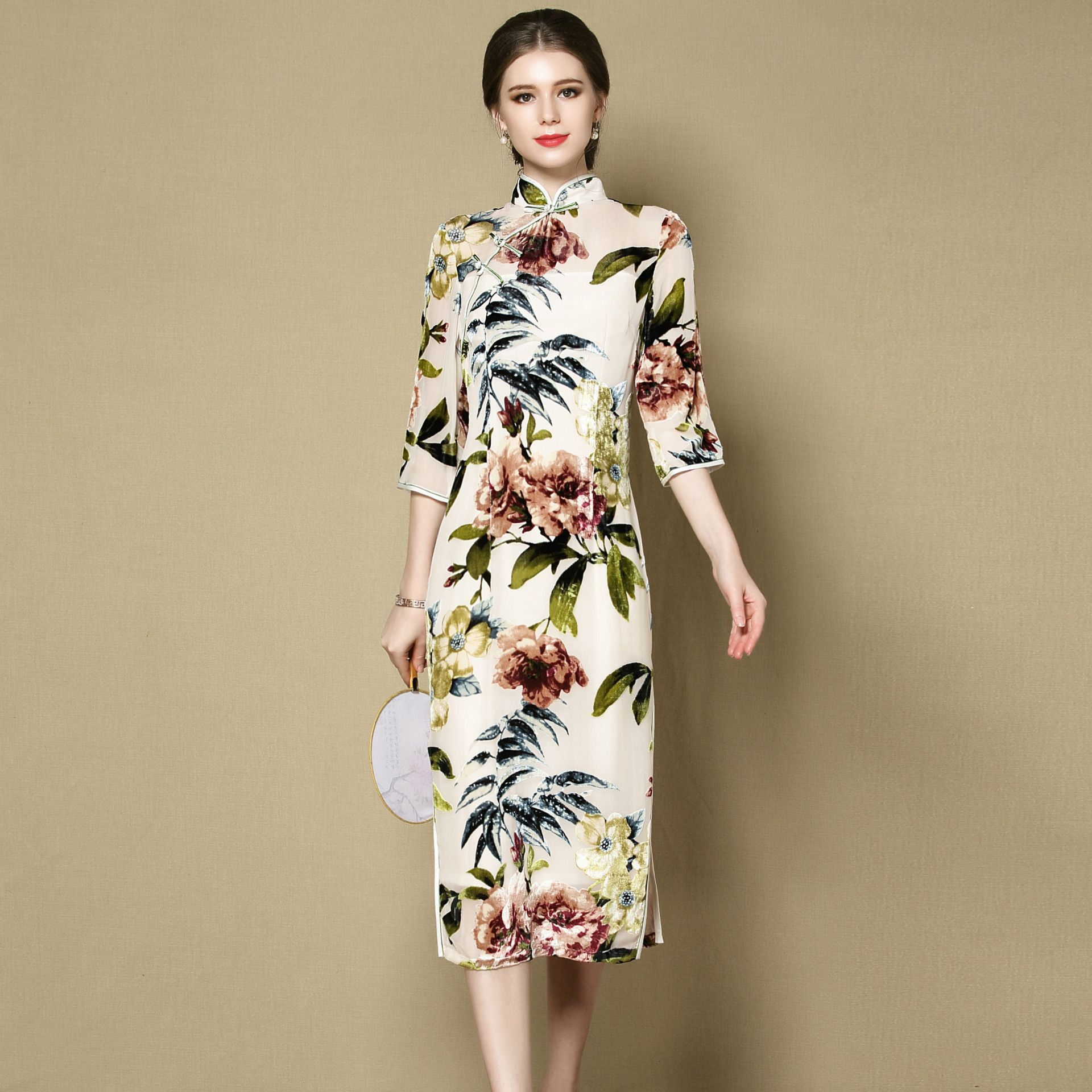 Winsome Floral Print Mid-calf Cheongsam Qipao Dress