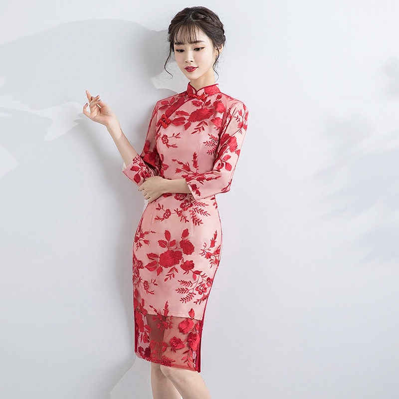 Pretty Embroidery Red Lace Chinese Dress Cheongsam Qipao