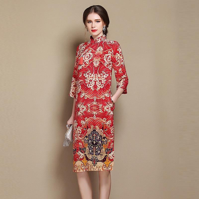 Nice Paisley Pattern Silk Qipao Cheongsam Dress - Red
