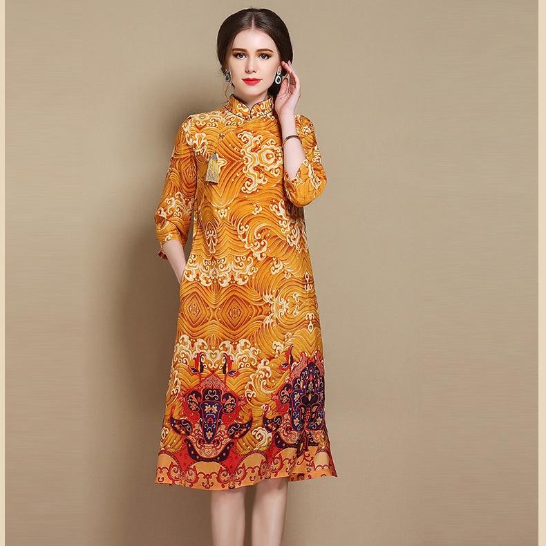 Nice Paisley Pattern Silk Qipao Cheongsam Dress - Yellow