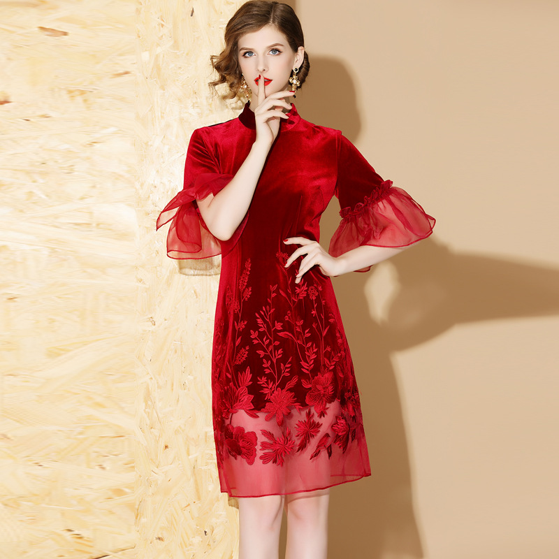 Lovely Embroidery Bell Sleeve Qipao Cheongsam Dress - Red