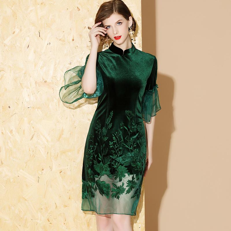Lovely Embroidery Bell Sleeve Qipao Cheongsam Dress - Green