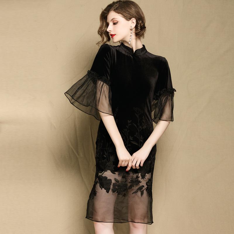 Lovely Embroidery Bell Sleeve Qipao Cheongsam Dress - Black